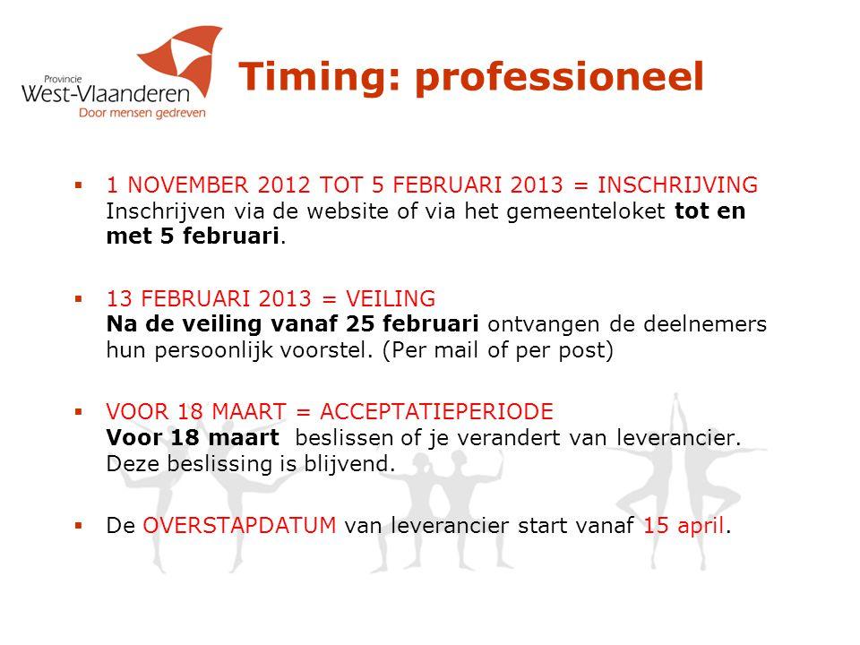 Timing: professioneel  1 NOVEMBER 2012 TOT 5 FEBRUARI 2013 = INSCHRIJVING Inschrijven via de website of via het gemeenteloket tot en met 5 februari.
