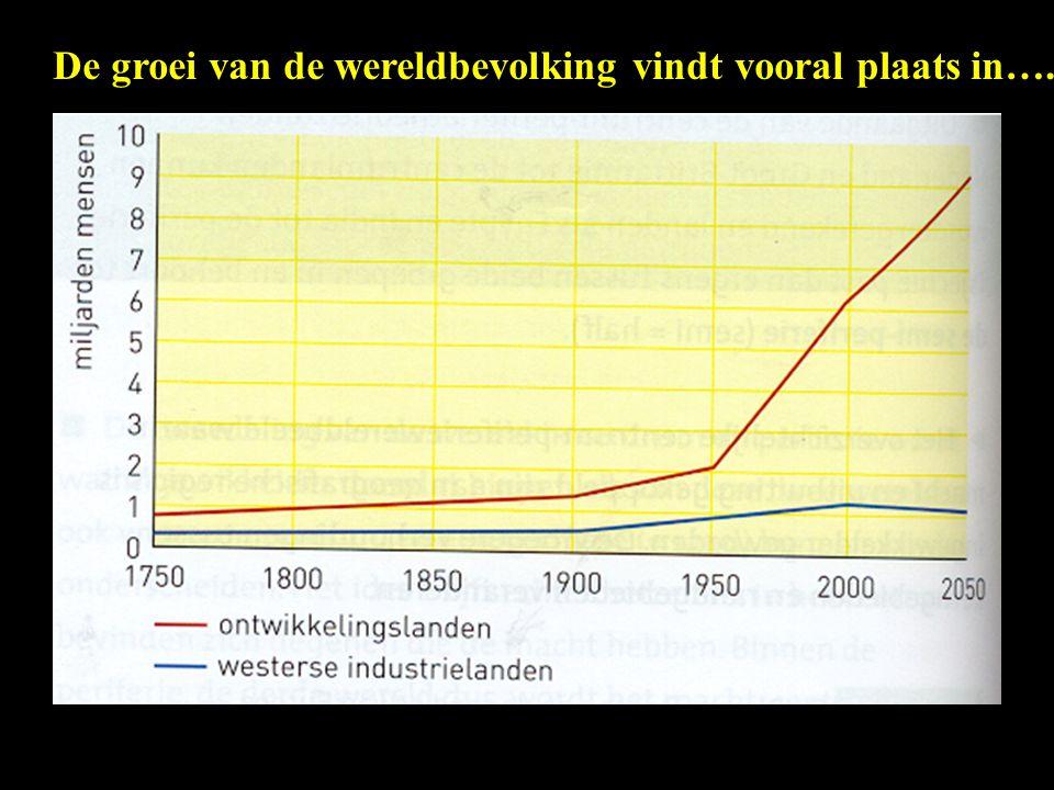 De groei van de wereldbevolking vindt vooral plaats in….