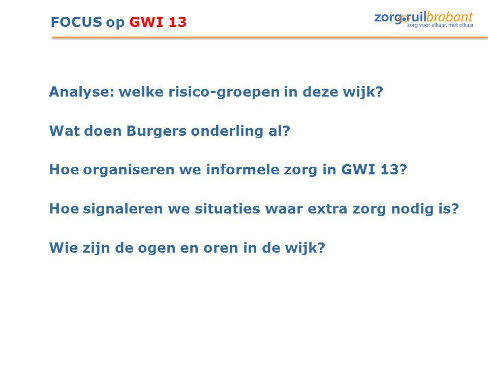 FOCUS op GWI 13 Analyse: welke risico-groepen in deze wijk? Wat doen Burgers onderling al? Hoe organiseren we informele zorg in GWI 13? Hoe signaleren