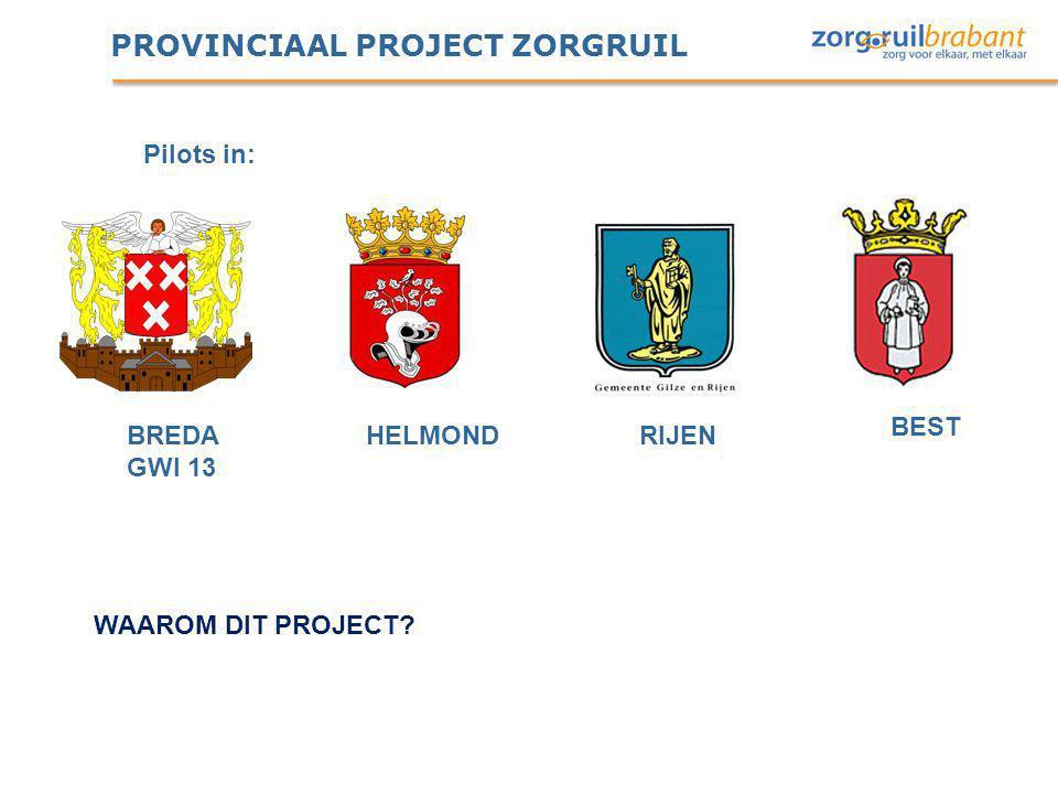 PROVINCIAAL PROJECT ZORGRUIL BREDA GWI 13 HELMOND BEST RIJEN WAAROM DIT PROJECT? Pilots in:
