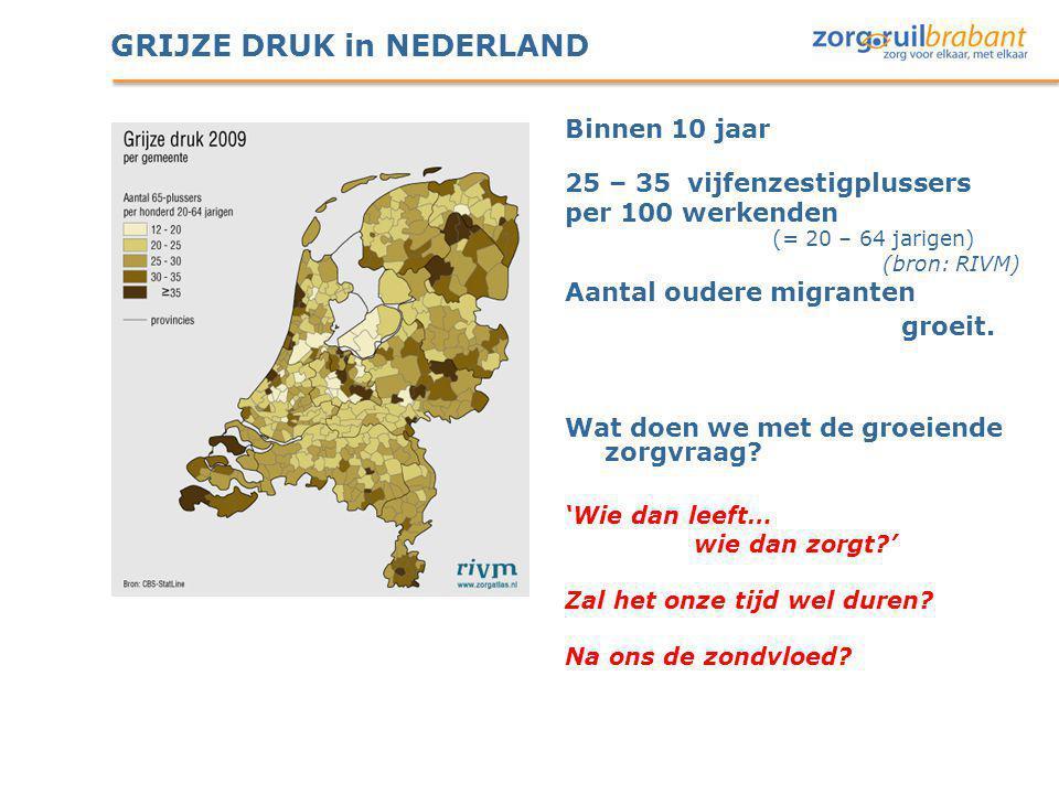 GRIJZE DRUK in NEDERLAND Binnen 10 jaar 25 – 35 vijfenzestigplussers per 100 werkenden (= 20 – 64 jarigen) (bron: RIVM) Aantal oudere migranten groeit