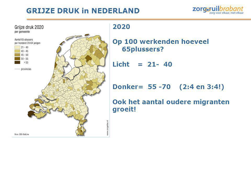 GRIJZE DRUK in NEDERLAND 2020 Op 100 werkenden hoeveel 65plussers? Licht= 21- 40 Donker= 55 -70 (2:4 en 3:4!) Ook het aantal oudere migranten groeit!