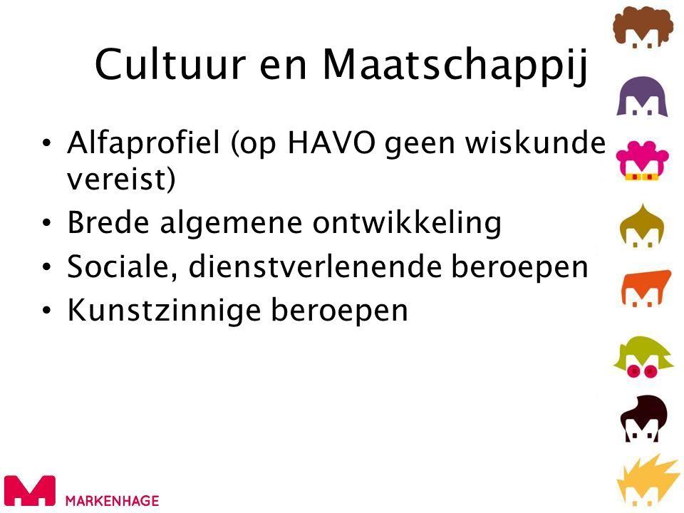 Cultuur en Maatschappij • Alfaprofiel (op HAVO geen wiskunde vereist) • Brede algemene ontwikkeling • Sociale, dienstverlenende beroepen • Kunstzinnige beroepen