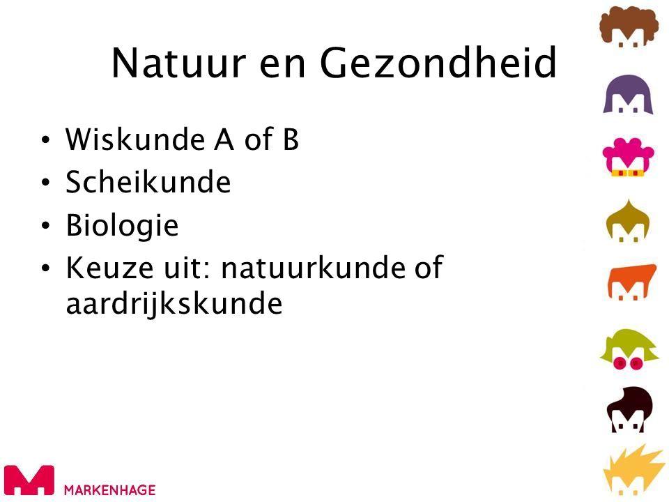 Natuur en Gezondheid • Wiskunde A of B • Scheikunde • Biologie • Keuze uit: natuurkunde of aardrijkskunde
