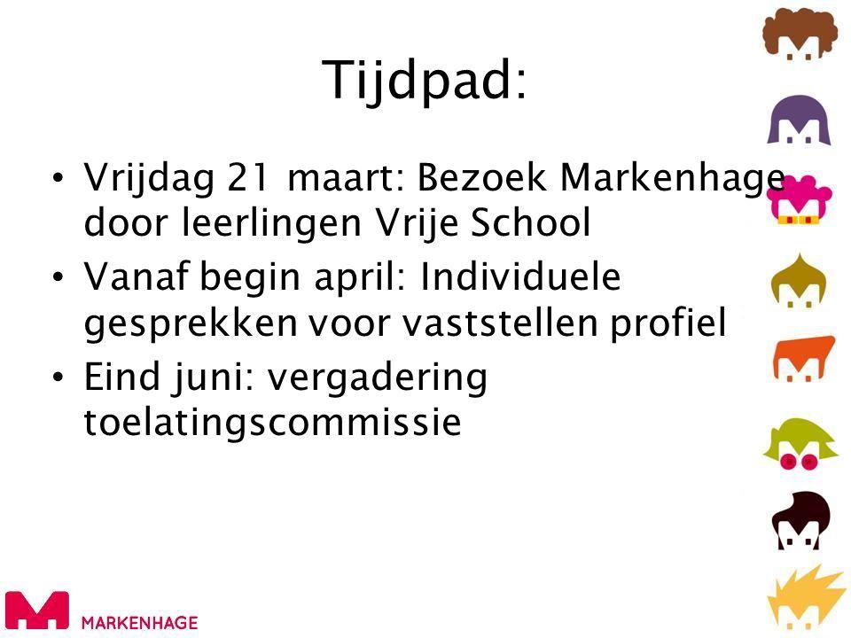 Tijdpad: • Vrijdag 21 maart: Bezoek Markenhage door leerlingen Vrije School • Vanaf begin april: Individuele gesprekken voor vaststellen profiel • Ein