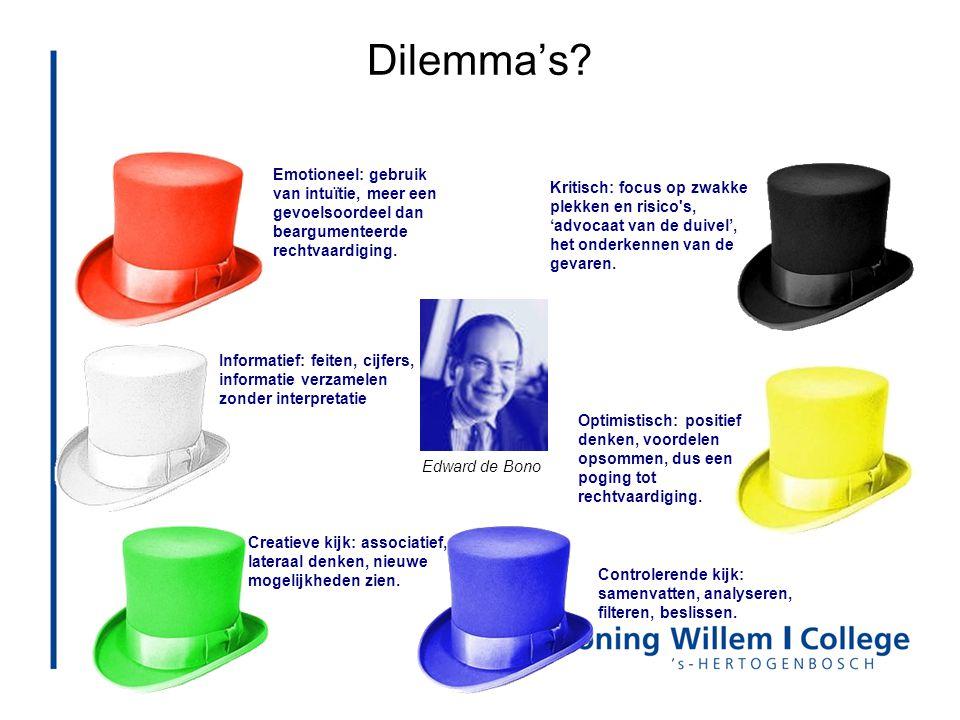 Dilemma's? Informatief: feiten, cijfers, informatie verzamelen zonder interpretatie Controlerende kijk: samenvatten, analyseren, filteren, beslissen.