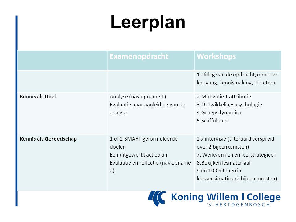 Leerplan ExamenopdrachtWorkshops 1.Uitleg van de opdracht, opbouw leergang, kennismaking, et cetera Kennis als Doel Analyse (nav opname 1) Evaluatie n