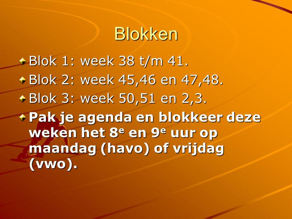 Blokken Blok 1: week 38 t/m 41.Blok 2: week 45,46 en 47,48.