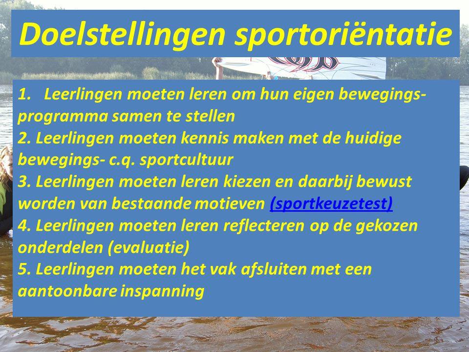 Doelstellingen sportoriëntatie 1.Leerlingen moeten leren om hun eigen bewegings- programma samen te stellen 2.