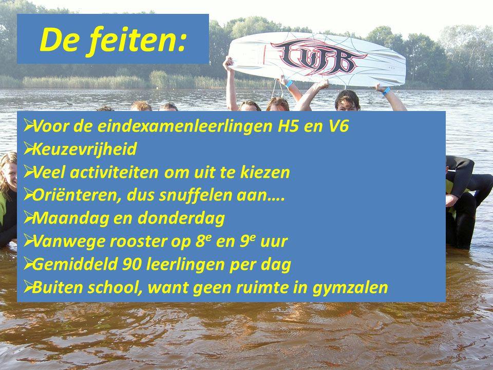 De feiten:  Voor de eindexamenleerlingen H5 en V6  Keuzevrijheid  Veel activiteiten om uit te kiezen  Oriënteren, dus snuffelen aan….