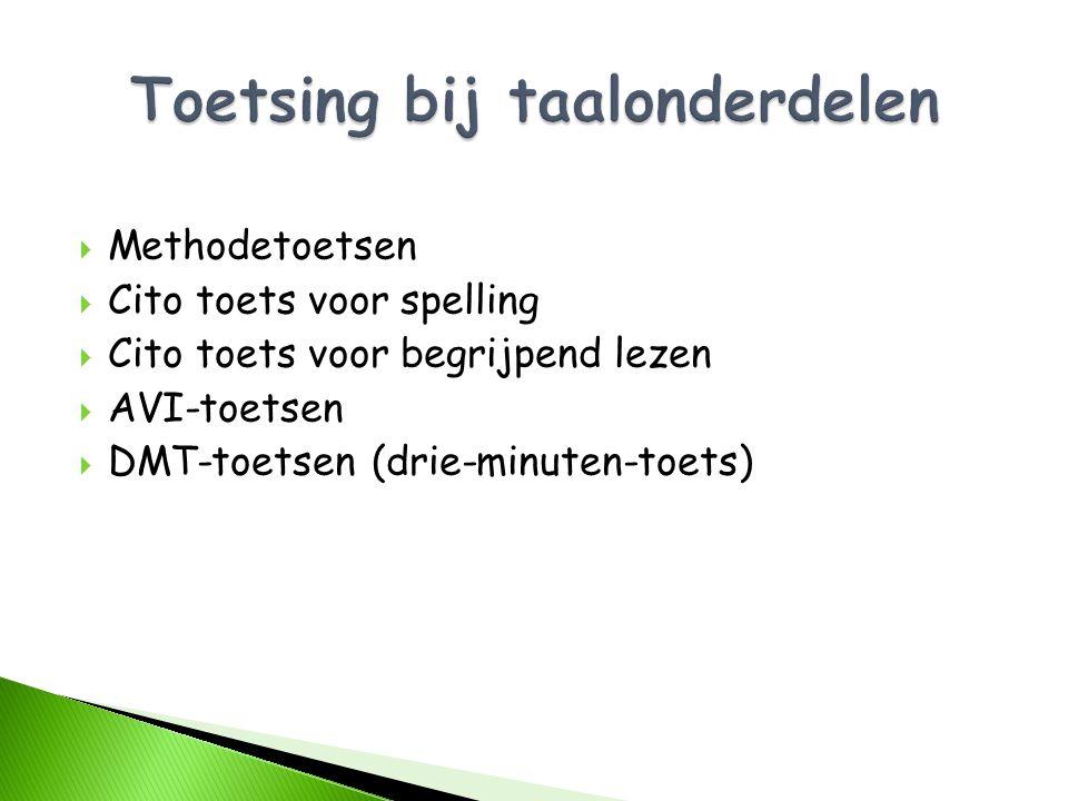  Methodetoetsen  Cito toets voor spelling  Cito toets voor begrijpend lezen  AVI-toetsen  DMT-toetsen (drie-minuten-toets)