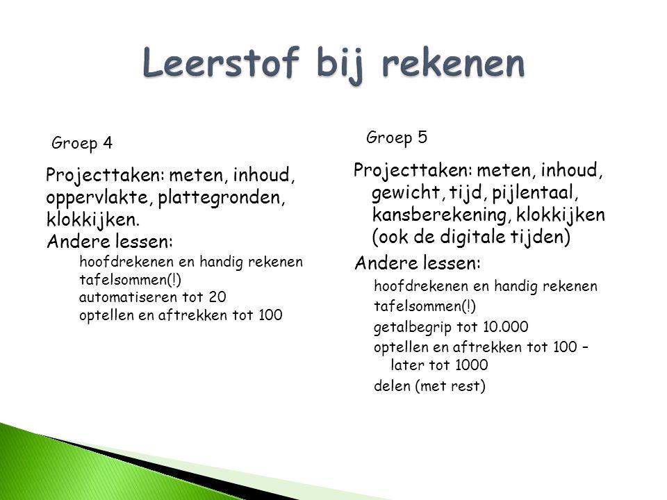 Projecttaken: meten, inhoud, gewicht, tijd, pijlentaal, kansberekening, klokkijken (ook de digitale tijden) Andere lessen: hoofdrekenen en handig reke