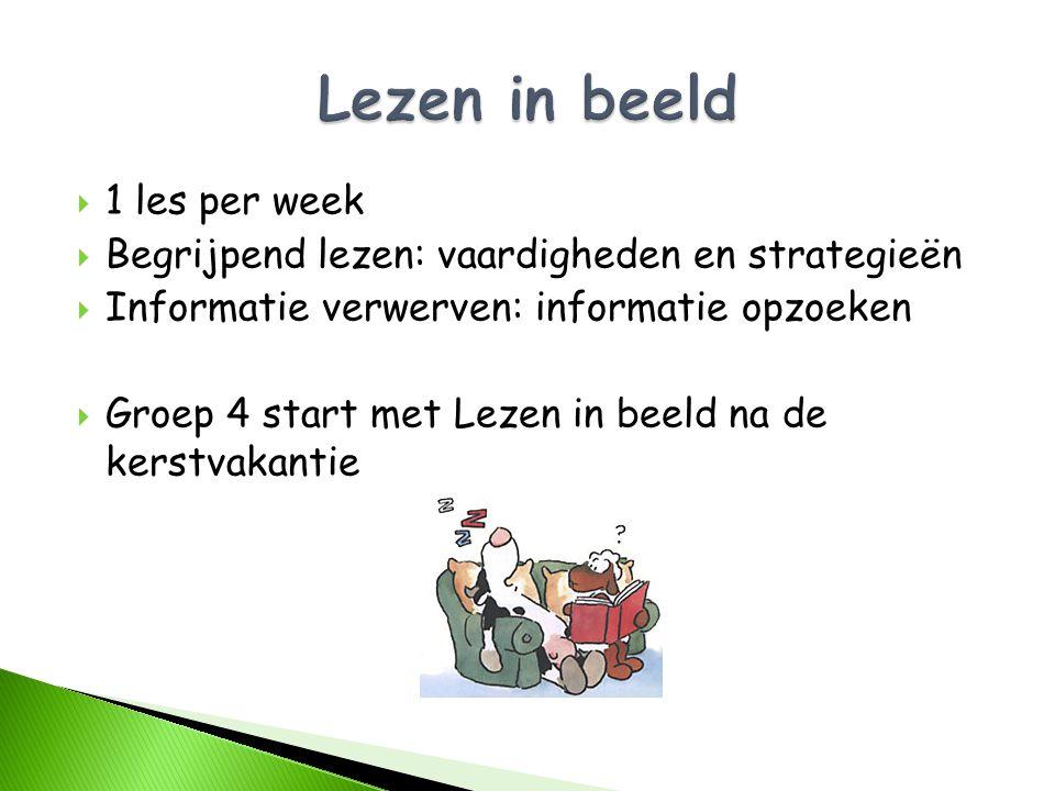  1 les per week  Begrijpend lezen: vaardigheden en strategieën  Informatie verwerven: informatie opzoeken  Groep 4 start met Lezen in beeld na de