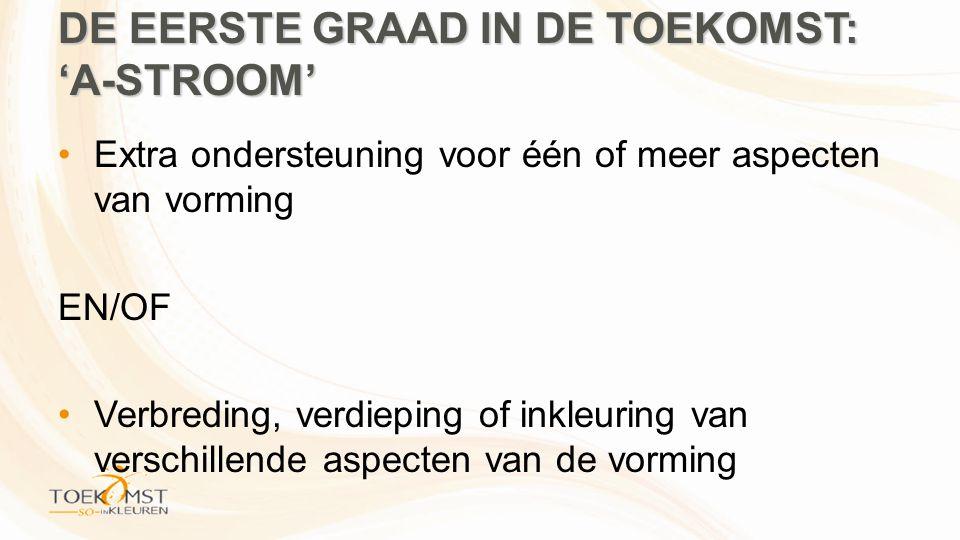 DE EERSTE GRAAD IN DE TOEKOMST: 'A-STROOM' •Extra ondersteuning voor één of meer aspecten van vorming EN/OF •Verbreding, verdieping of inkleuring van verschillende aspecten van de vorming