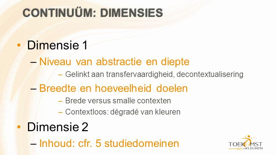 •Dimensie 1 –Niveau van abstractie en diepte –Gelinkt aan transfervaardigheid, decontextualisering –Breedte en hoeveelheid doelen –Brede versus smalle contexten –Contextloos: dégradé van kleuren •Dimensie 2 –Inhoud: cfr.