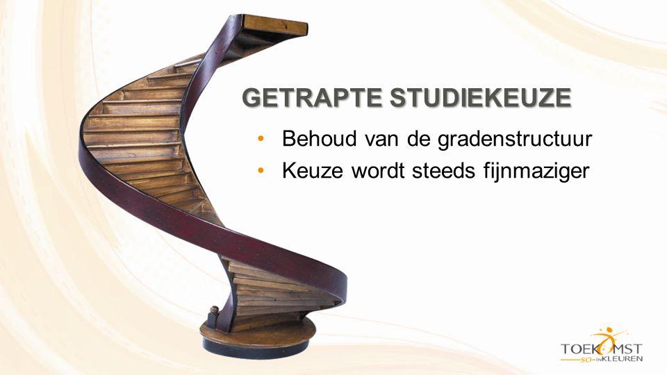 GETRAPTE STUDIEKEUZE •Behoud van de gradenstructuur •Keuze wordt steeds fijnmaziger