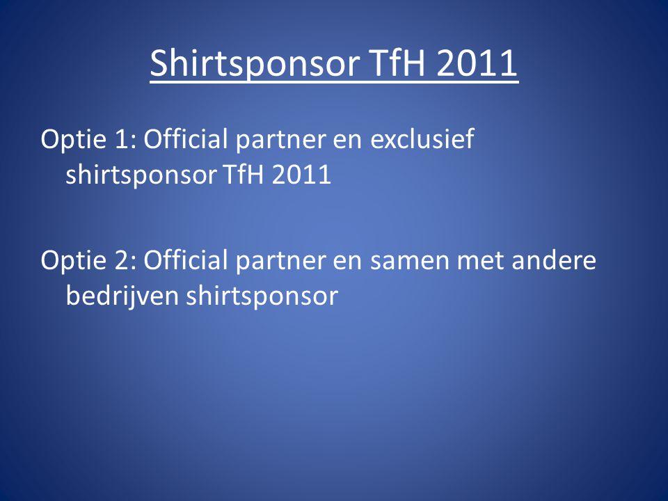 Shirtsponsor TfH 2011 Optie 1: Official partner en exclusief shirtsponsor TfH 2011 Optie 2: Official partner en samen met andere bedrijven shirtsponsor