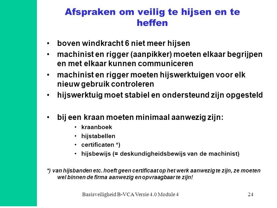 Basisveiligheid B-VCA Versie 4.0 Module 424 Afspraken om veilig te hijsen en te heffen •boven windkracht 6 niet meer hijsen •machinist en rigger (aanp