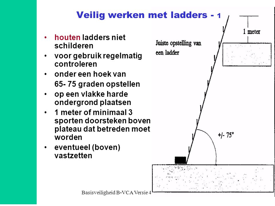 Basisveiligheid B-VCA Versie 4.0 Module 47 •houten ladders niet schilderen •voor gebruik regelmatig controleren •onder een hoek van 65- 75 graden opst