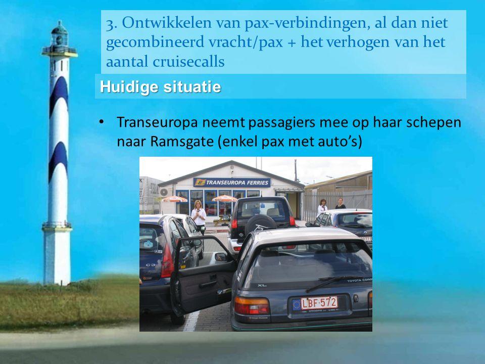 3. Ontwikkelen van pax-verbindingen, al dan niet gecombineerd vracht/pax + het verhogen van het aantal cruisecalls Huidige situatie • Transeuropa neem