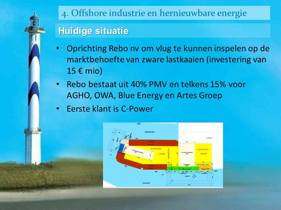 4. Offshore industrie en hernieuwbare energie Huidige situatie • Oprichting Rebo nv om vlug te kunnen inspelen op de marktbehoefte van zware lastkaaie