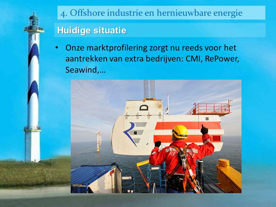4. Offshore industrie en hernieuwbare energie Huidige situatie • Onze marktprofilering zorgt nu reeds voor het aantrekken van extra bedrijven: CMI, Re