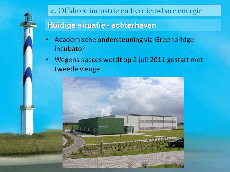 4. Offshore industrie en hernieuwbare energie Huidige situatie - achterhaven • Academische ondersteuning via Greenbridge incubator • Wegens succes wor