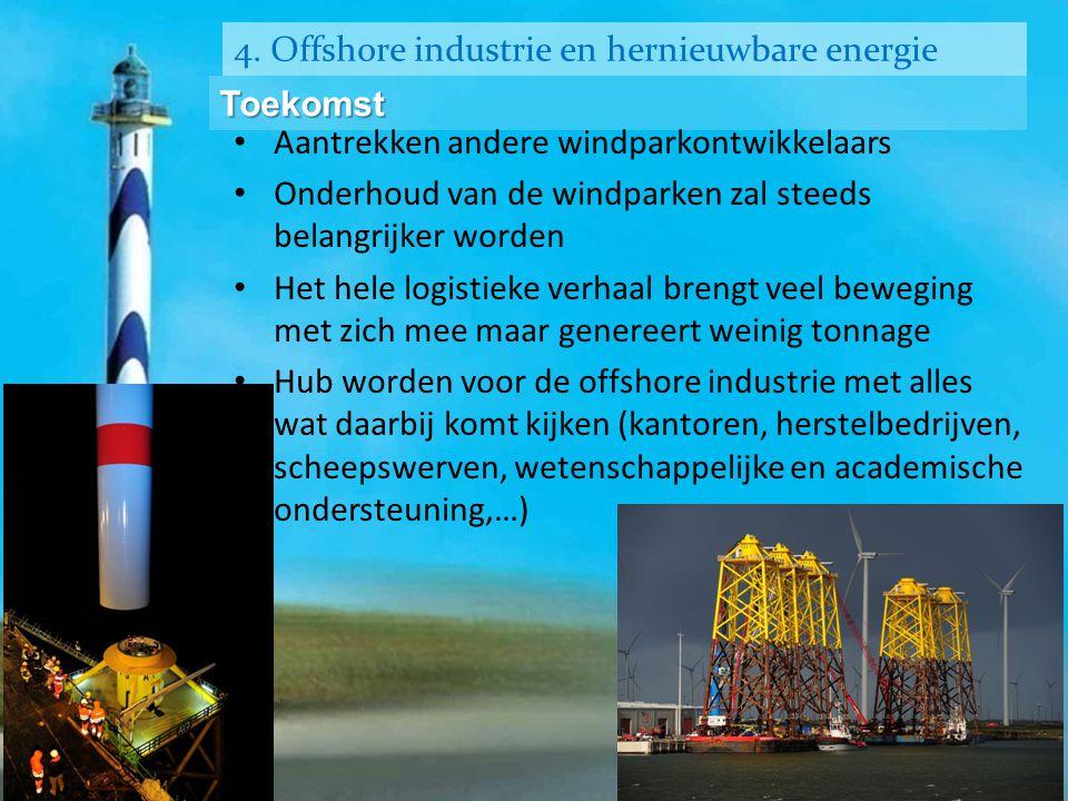 4. Offshore industrie en hernieuwbare energie Toekomst • Aantrekken andere windparkontwikkelaars • Onderhoud van de windparken zal steeds belangrijker