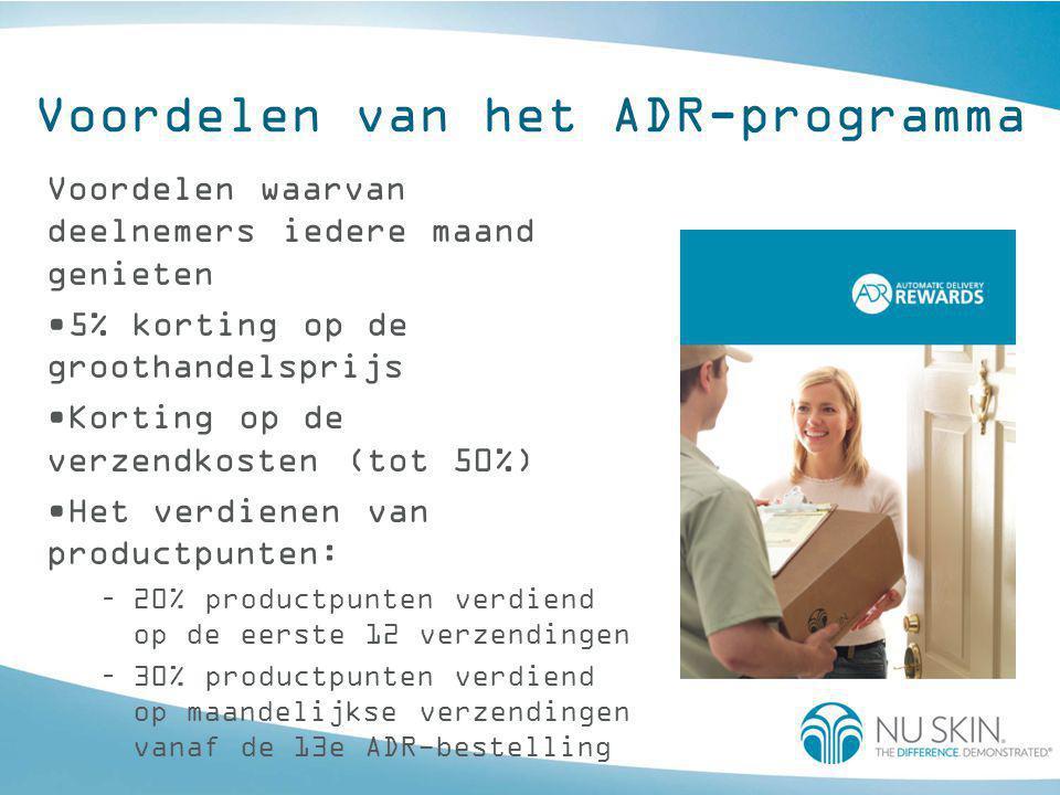 Voordelen van het ADR-programma Voordelen waarvan deelnemers iedere maand genieten •5% korting op de groothandelsprijs •Korting op de verzendkosten (t