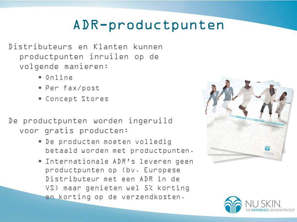 ADR-productpunten Distributeurs en Klanten kunnen productpunten inruilen op de volgende manieren: •Online •Per fax/post •Concept Stores De productpunten worden ingeruild voor gratis producten: •De producten moeten volledig betaald worden met productpunten.