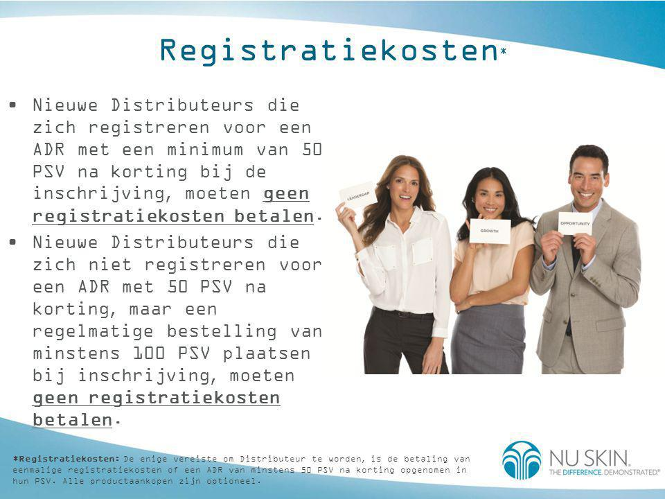 Registratiekosten * •Nieuwe Distributeurs die zich registreren voor een ADR met een minimum van 50 PSV na korting bij de inschrijving, moeten geen reg