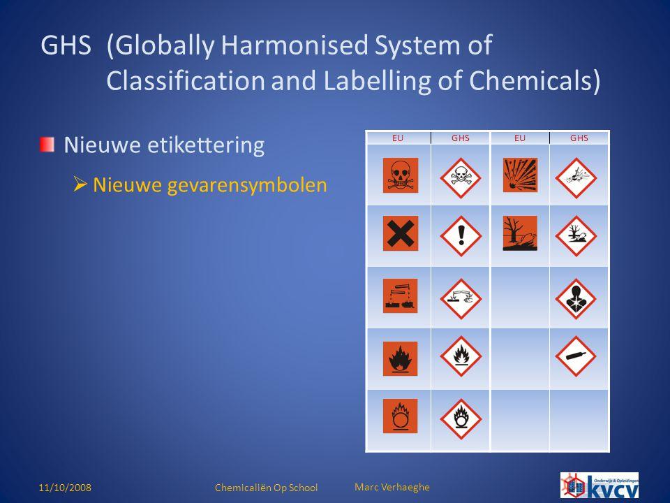 11/10/2008Chemicaliën Op School Marc Verhaeghe Nieuwe etikettering  Nieuwe gevarensymbolen GHS(Globally Harmonised System of Classification and Label