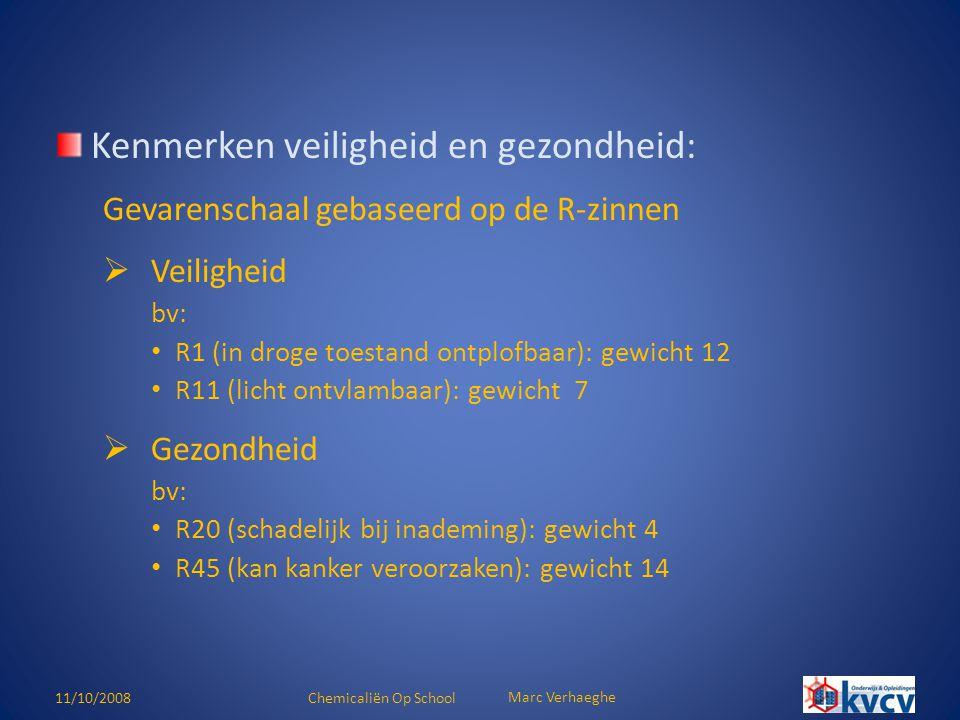 11/10/2008Chemicaliën Op School Marc Verhaeghe Lijst producten achter slot te bewaren (ARAB art.