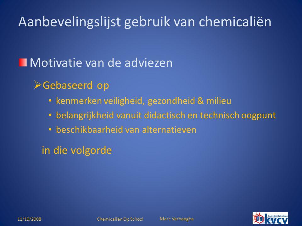 11/10/2008Chemicaliën Op School Marc Verhaeghe (Zeer) giftige stoffen  ARAB art.