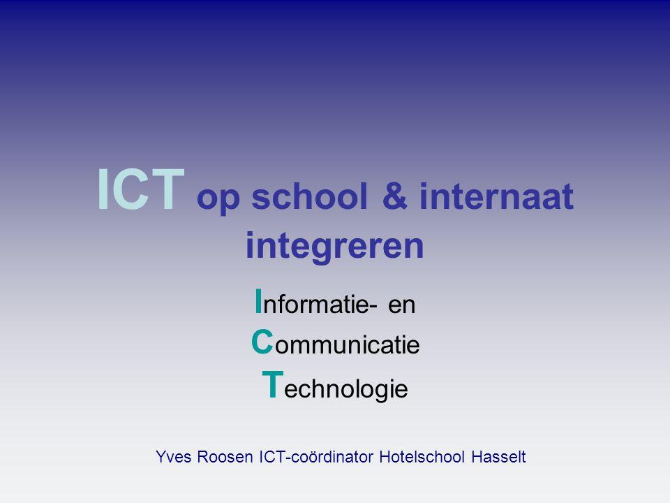ICT integreren •in de praktijk dus voor computers en wat daarmee samenhangt omdat we eraan werken om ICT te integreren in onze school- en onderwijsstructuur •betekent volgens Van Dale opnemen als onderdeel van een geheel .
