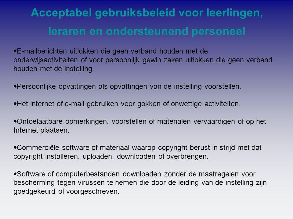 Acceptabel gebruiksbeleid voor leerlingen, leraren en ondersteunend personeel  E-mailberichten uitlokken die geen verband houden met de onderwijsacti