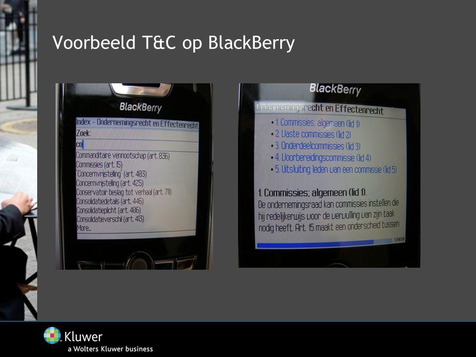 Voorbeeld T&C op BlackBerry