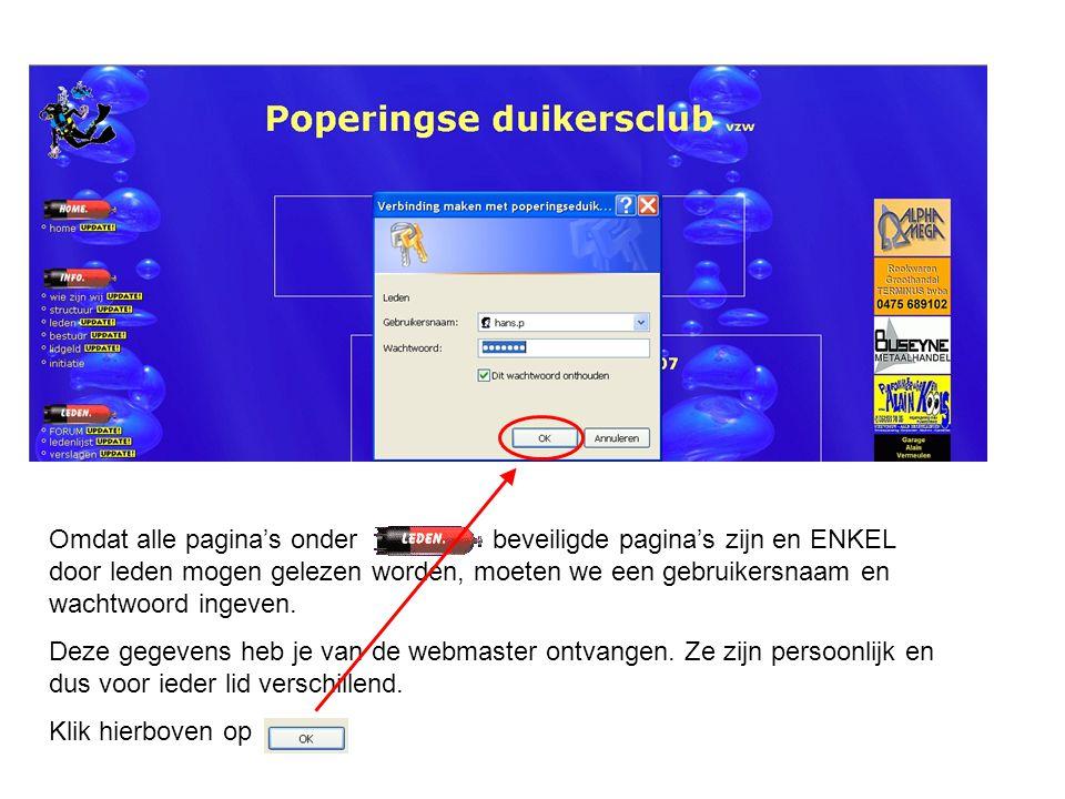 Omdat alle pagina's onder beveiligde pagina's zijn en ENKEL door leden mogen gelezen worden, moeten we een gebruikersnaam en wachtwoord ingeven. Deze
