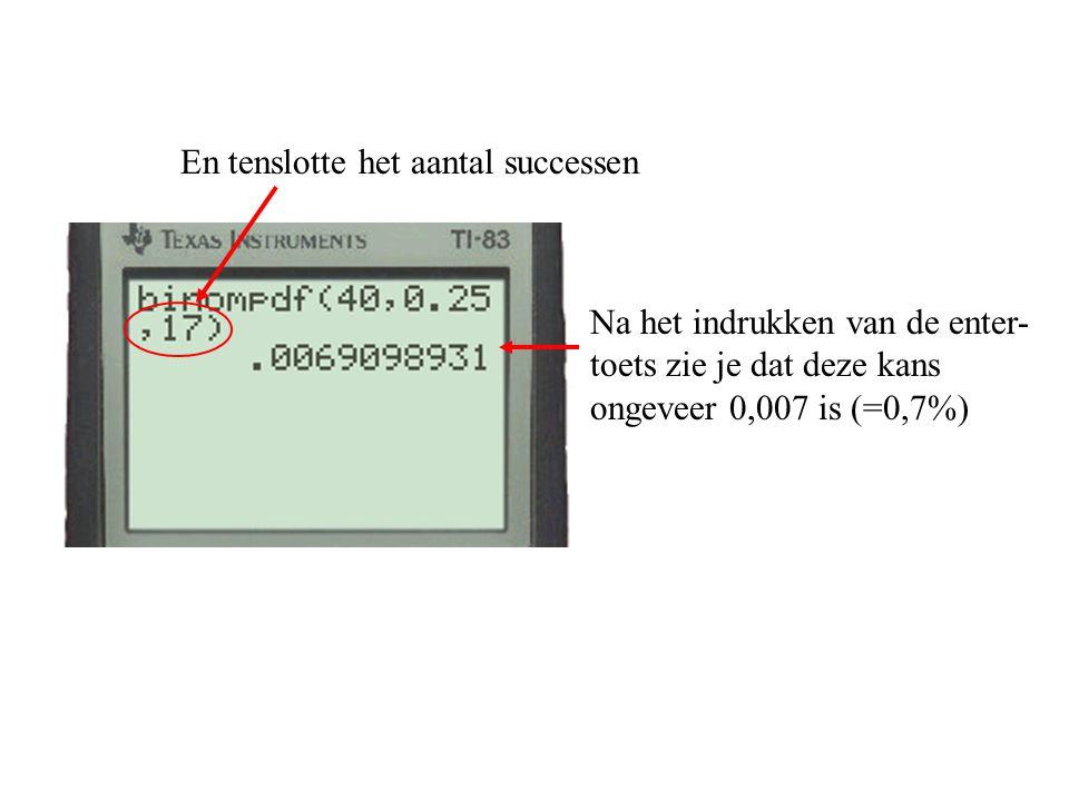 En tenslotte het aantal successen Na het indrukken van de enter- toets zie je dat deze kans ongeveer 0,007 is (=0,7%)