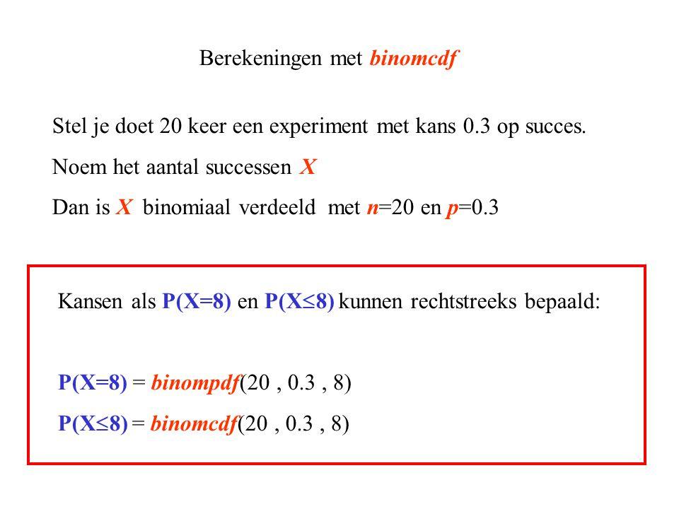 Berekeningen met binomcdf Stel je doet 20 keer een experiment met kans 0.3 op succes. Noem het aantal successen X Dan is X binomiaal verdeeld met n=20