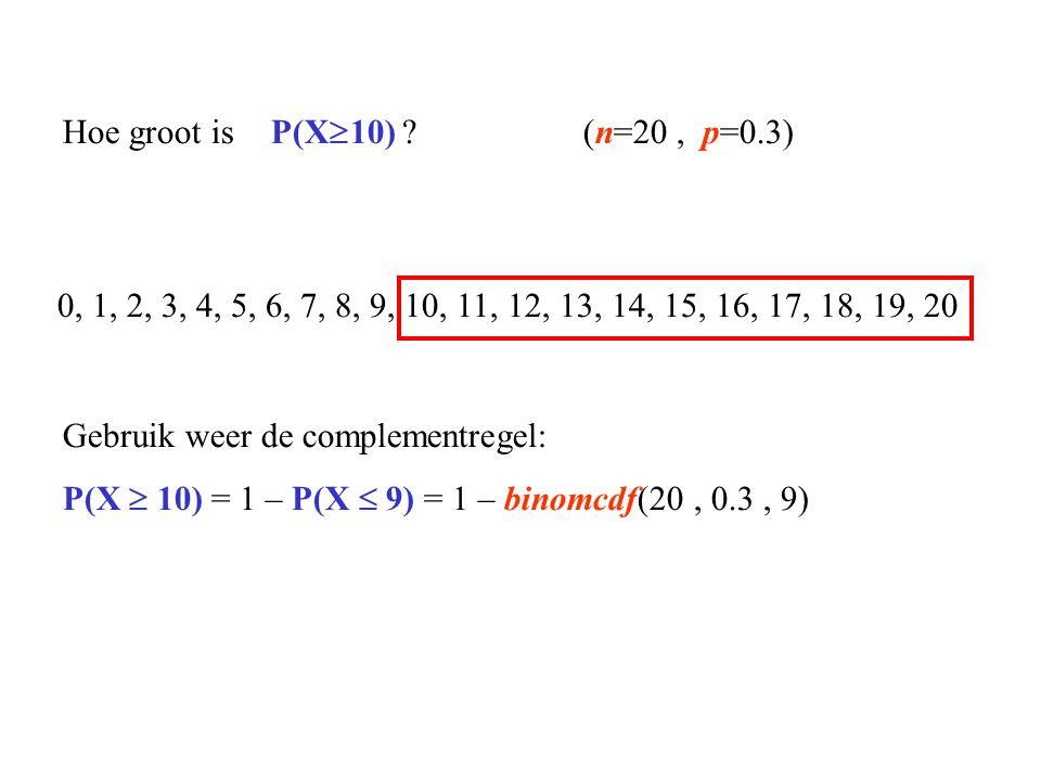 0, 1, 2, 3, 4, 5, 6, 7, 8, 9, 10, 11, 12, 13, 14, 15, 16, 17, 18, 19, 20 Hoe groot is P(X  10) ?(n=20, p=0.3) Gebruik weer de complementregel: P(X 