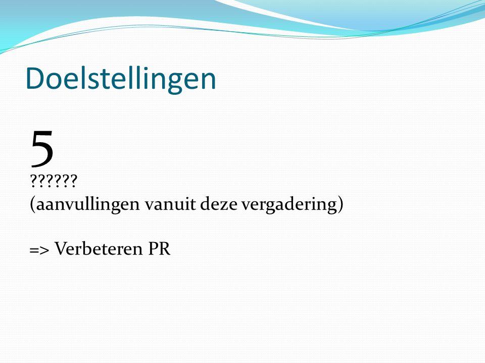 Doelstellingen 5 ?????? (aanvullingen vanuit deze vergadering) => Verbeteren PR