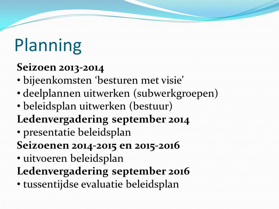 Planning Seizoen 2013-2014 • bijeenkomsten 'besturen met visie' • deelplannen uitwerken (subwerkgroepen) • beleidsplan uitwerken (bestuur) Ledenvergad