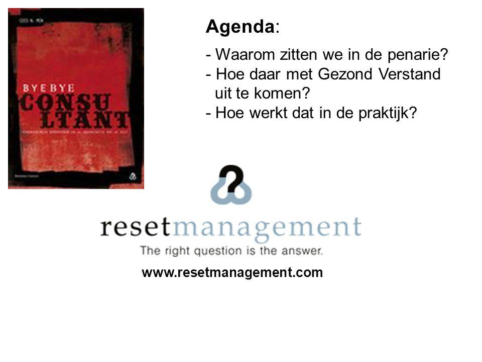 www.resetmanagement.com Agenda: - Waarom zitten we in de penarie? - Hoe daar met Gezond Verstand uit te komen? - Hoe werkt dat in de praktijk?