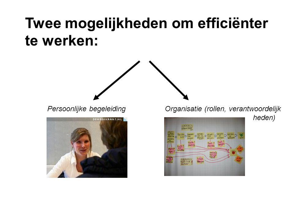 Twee mogelijkheden om efficiënter te werken: Persoonlijke begeleidingOrganisatie (rollen, verantwoordelijk heden)