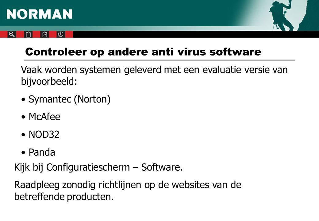 Nieuwste versie downloaden - 1 www.norman.nl –> Download –> Full versions -> Norman Virus Control