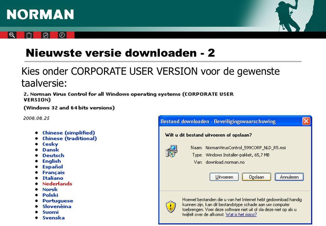 N-icoon waarschuwingen - 1 Het N-icoontje kan informatie verschaffen over de status van uw Norman Virus Control installatie.