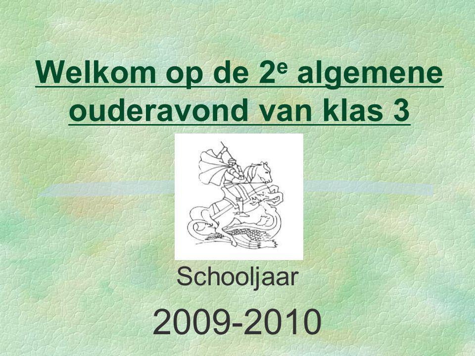 Welkom op de 2 e algemene ouderavond van klas 3 Schooljaar 2009-2010