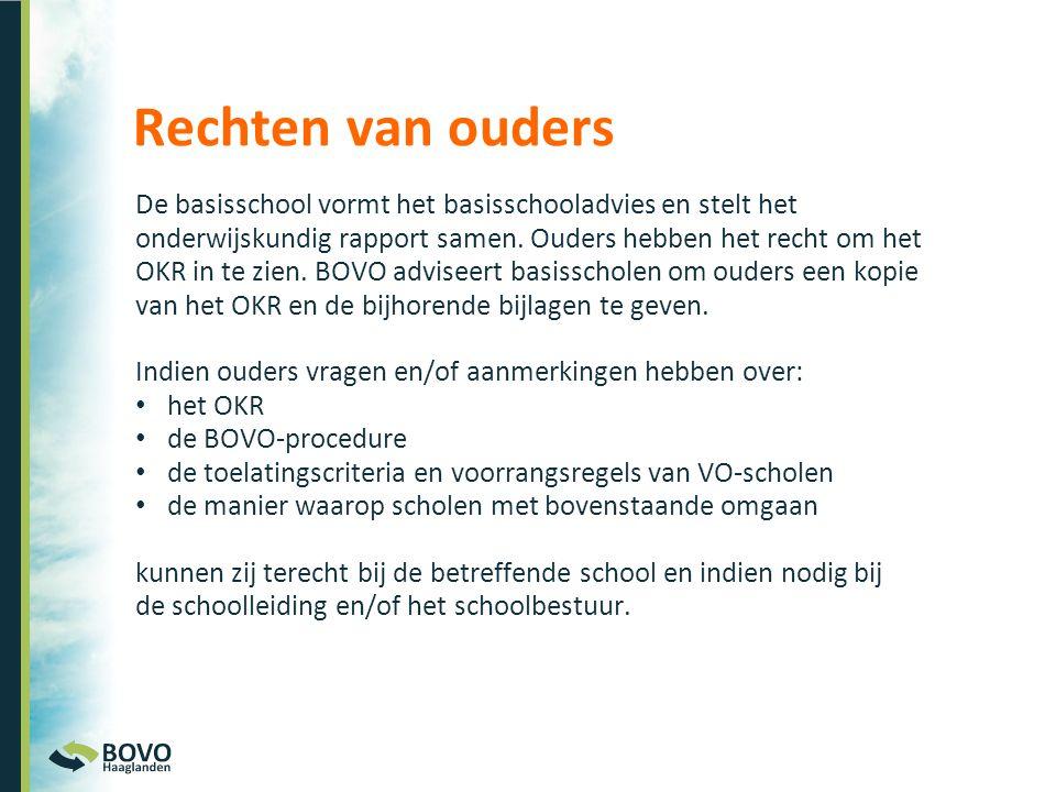 De basisschool vormt het basisschooladvies en stelt het onderwijskundig rapport samen. Ouders hebben het recht om het OKR in te zien. BOVO adviseert b