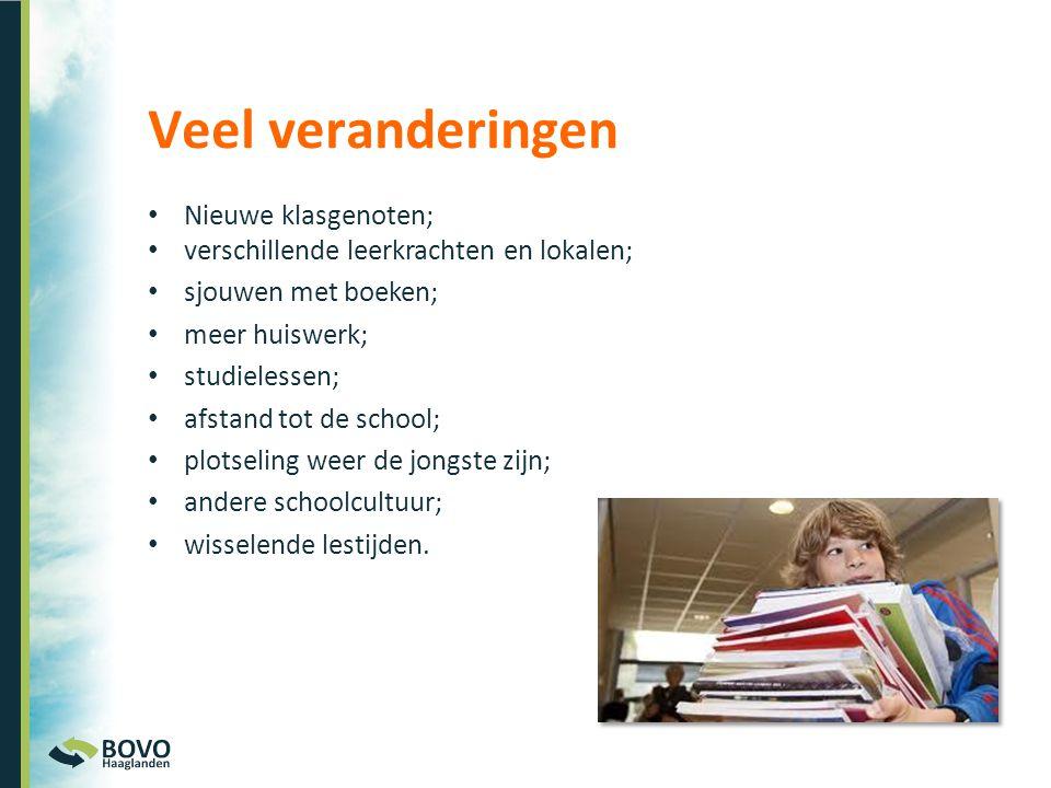 • Nieuwe klasgenoten; • verschillende leerkrachten en lokalen; • sjouwen met boeken; • meer huiswerk; • studielessen; • afstand tot de school; • plots